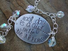 Items similar to Untie the Ribbons Hand Stamped Sterling Silver Inspirational Quote Bracelet on Etsy Hand Stamped Metal, Hand Stamped Jewelry, Silverware Jewelry, Metal Jewelry, Jewlery, Diy Jewelry Inspiration, Jewelry Ideas, Metal Stamping, Jewelry Stamping