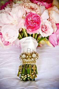 stunning peony and garden rose bouquet with gold jewels by Stylish Stems & Erika Leigh Photography   www.stylishstems.com