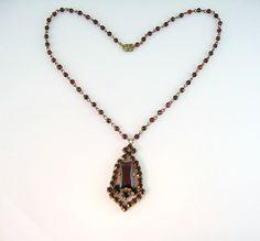 Vintage Bohemian Garnet Glass Necklace Victorian Revival Czech 1930s Jewelry.