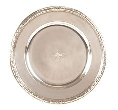 A FABERGE SILVER IMPERIAL PRESENTATION PLATE, MOSCOW, 1899. The raised rim chased with laurel-leaf wreath, and the cavetto engraved with an Imperial double headed eagle. The verso engraved with dedicatory inscription, 'August 16, 1874-1899 from Grand Duchess Xenia Alexandrovna'.