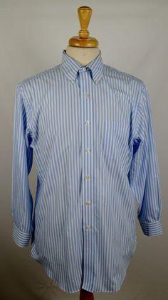 Brooks Brothers Men's Size 15.5/32 Blue White Striped Non Iron Dress Shirt…