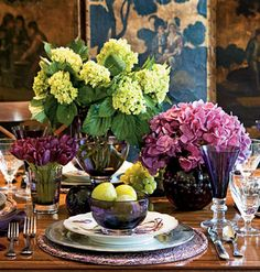 """Plum                           """"A full-bodied color, plum is especially lively and luscious as glassware surrounded by sparkling candles and vibrant flowers.                             It provides a wonderful complement for many other colors and has a lovely decadence alone as well.""""-- designer Phoebe Howard"""