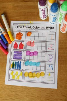 Count, Color in the ten frame and write the number. SO many FUN and engaging printables!