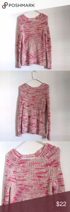 AEO Pink Knit Jegging Sweater Perfectly feminine knit sweater for the upcoming winter season! Pink and cream knit. Good used condition. Some pilling and a couple unnoticeable snags, but overall very nice condition and a super warm sweater. Fits slightly oversized. American Eagle Outfitters Sweaters Crew & Scoop Necks