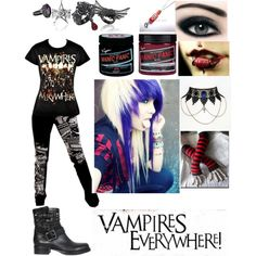 """Vampires Everywhere inspired outifit"" by emolover323 on Polyvore"