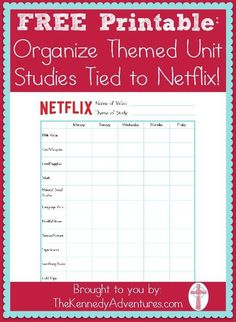 Organize netflix..... Guess I'm not the only one that uses great documentaries shown on Netflix (Canada for us) ;D Here's a #printables to go along with your #homeschool themes