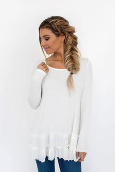 Ivory Ruffle Hem Long Sleeve Top - Dottie Couture Boutique