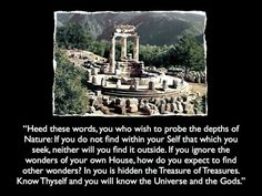 Know thy self. No political, religious, scientifc or new age movement will lead you to the truth. To raise your self awareness and reach a higher level conciousness you must look within you. The ancients knew these universal truths well. The Oracle of Delphi Mount Parnassus in the valley of Phocis, Greece.