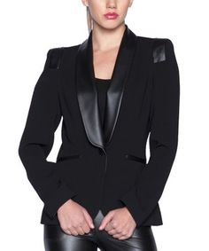 Look what I found on #zulily! Black Faux Leather Blazer by Elfe #zulilyfinds