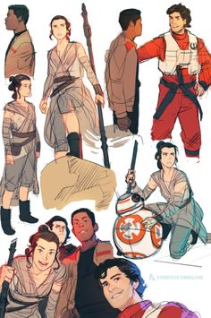 """ctchrysler: """"More TFA sketches (Poe's face is too good for me) """""""