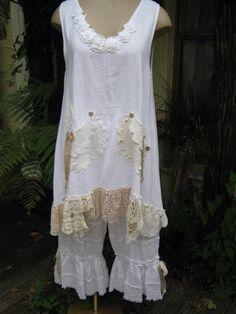 FRENCH ruffle BLOOMERS.... vintage kitty..white cotton, pin tucks, ruffles, lace,  ribbon, shabby chic. med - XL. $120.00, via Etsy.