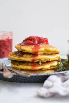 Corn Flour Pancakes with Strawberry Compote (gluten-free, dairy-free) | saltedplains.com
