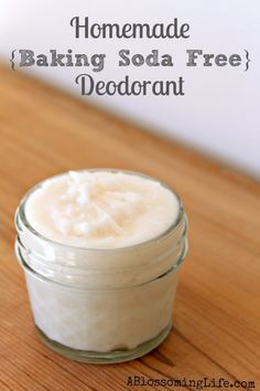 Baking soda Free deodorant: 1/2 C arrowroot powder or cornstarch | 1/2 C coconut oil | 40 drops lavender and/or tea tree (antibacterial)