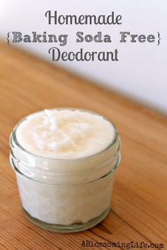 Baking soda Free deodorant: 1/2 C arrowroot powder or cornstarch | 1/2 C coconut oil | 40 drops lavender and/or tea tree (antibacterial)