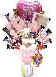 """""""It's A Girl"""" Candy Bouquet. Raffle Baskets, Diy Gift Baskets, Candy Boquets, Chocolates, Candy Arrangements, Edible Bouquets, Candy Boutique, Chocolate Bouquet, Edible Gifts"""