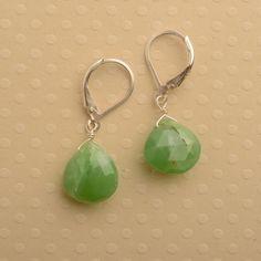 green earrings chrysoprase earrings gemstone earrings by izuly, $34.00