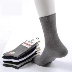 6f06d757d26 6 Pair Lot Mens Brand Cotton Business Socks Solid Color High Ankle Dress  Sock For Man