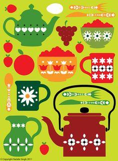Retro kitchen design in greens and reds, digital art print. $16.00, via Etsy.