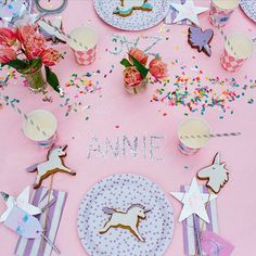 Sparkling Tabletop from our #Unicorn Editorial all available now through LENZO • Printable labels + stickers  @celebratewithavery  • Unicorn cookies @sweetwindsor  • Partyware @rubyrabbitparty (how amazing is the #confetti) • Furniture @minipartypeople • @beckrocchiphotography • @thestablesofcomo • #SHOP the look now • #linkinprofile