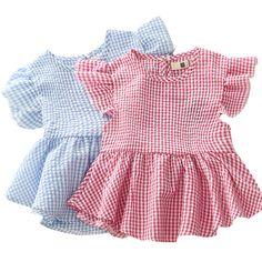 $5.59 (Buy here: https://alitems.com/g/1e8d114494ebda23ff8b16525dc3e8/?i=5&ulp=https%3A%2F%2Fwww.aliexpress.com%2Fitem%2FChildren-s-Clothing-2016-The-New-Summer-Girls-Cotton-Plaid-Dress-Female-Baby-Loose-Petal-Sleeve%2F32670944463.html ) Children's Clothing 2016 The New Summer Girls' Cotton Plaid Dress Female Baby Loose Petal Sleeve O-neck Pleated Blouse Dress for just $5.59