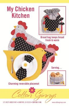 MY CHICKEN KITCHEN placemats and bread bag sewing pattern, Cotton Ginnys pattern, chicken sewing pat Bag Patterns To Sew, Craft Patterns, Sewing Patterns, Placemat Patterns, Fabric Crafts, Sewing Crafts, Kitchen Placemats, Chicken Quilt, Craft Projects