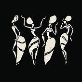 Figures of african dancers. Dancing woman in ethnic style. Stock Vector Colourbox on Colourbox African Artwork, African Art Paintings, Arte Tribal, Tribal Art, Black Women Art, Black Art, Numero D Art, African Tattoo, Afrique Art