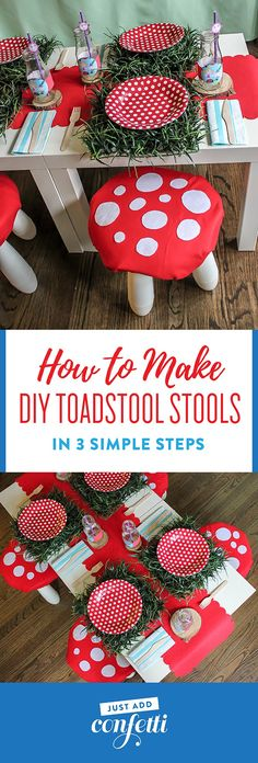 DIY Toadstool Stools, IKEA hack, toadstool stools, how to make DIY toadstool stools, Ben & Holly's Little Kingdom party, kids stools, elf and fairy party, fairies and elves party, toadstool stools, kids party, DIY party decor, toadstool stools IKEA hack, IKEA Mammut stool, IKEA Mammut stool hack