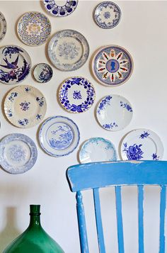 ...Have always loved a variety of blue and white plates