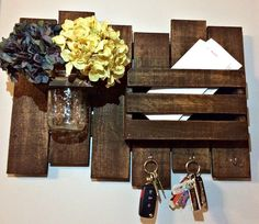 Rustic Command Center with Mail Holder Key Hooks and by VivaLasDIY