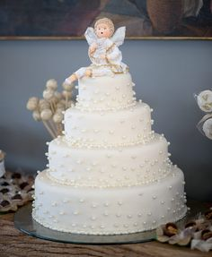 Batizado da Valentina Christening Cake Boy, Baby Girl Baptism, Baptism Party, Birthday Cake Girls, Dessert Bars, Cakes For Boys, Girl Cakes, Cold Porcelain, Themed Cakes