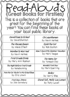 Great List of Back to School Read-Alouds! Back to School tips
