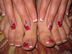 cherry, french pedicure, nail art