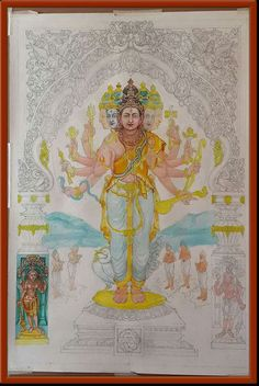 Indian Gods, Indian Art, Mysore Painting, Gayatri Devi, Indian Temple, Pooja Rooms, Shiva Shakti, New Poster, Lord Shiva