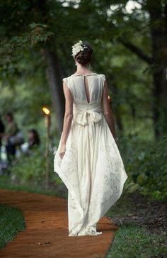 Dandelion Eco Wedding Dress with Screenprinted by abstractpretty