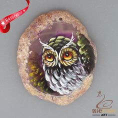 HAND PAINTED OWL BIRD AGATE SLICE GEMSTONE DIY NECKLACE PENDANT ZL8018522 #ZL #PENDANT