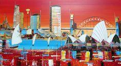 Origina Art  Sydney Operahouse  PaintingRed & White  by Borettoart,