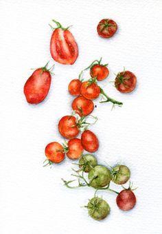 ORIGINAL Painting  Cherry Tomatoes Food от ForestSpiritArt на Etsy