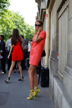 Neon red shift dress with neon yellow sandal heels