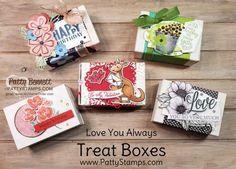 5 Treat Box ideas featuring Stampin\' Up! papercrafting supplies, for birthday, Valentine\'s and St. Patrick\'s day, by Patty Bennett www.PattyStamps.com