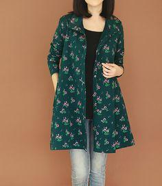 women cotton Floral coat lapel long sleeved large size Long sleeve coat
