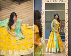 A stunning Yellow Lehenga with Gold embroidery and border paired with a Teal dupatta by Vikram Phadnis for Chandni Tolani at WeddingSutra on Location.
