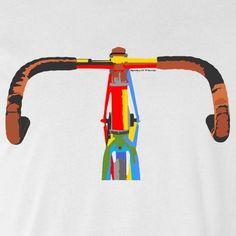 Bicycle T-Shirt -Pop Art Bicycle Handlebars Road Cycling