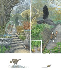 "They turned into the long walk - ""The Secret Garden"" by Frances Hodgson Burnett, illustrated By Inga Moore."