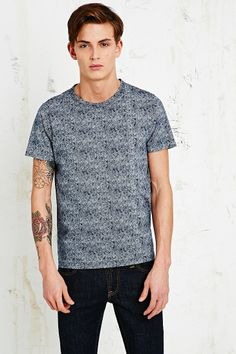 Shore Leave Diamond Herringbone Tee in Navy