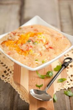 Paula Deen Tomato Grits Recipe _ with cheddar cheese and Ro-Tel dice tomatoes and green chilies. Breakfast And Brunch, Breakfast Dishes, Breakfast Recipes, Breakfast Casserole, Grits Breakfast, Tomato Breakfast, Grits Casserole, Breakfast Healthy, Great Recipes