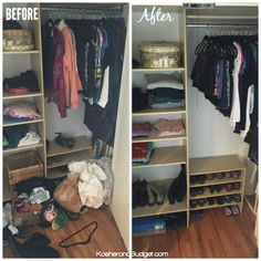 How to declutter -- Before & After Closet Decluttering