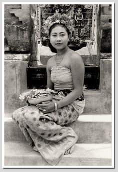 Balinese girl, dancer costume, old postcard, 1930s