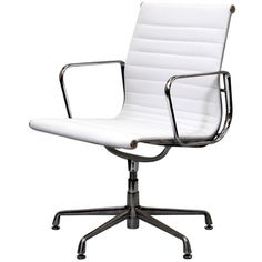 @Overstock - Regarded as one of the most iconic designer office chairs of the modern classics, this piece adds weight and poise to your office. With superior comfort as well as style, this chair is worthy of its fame and perfect for the discerning business.http://www.overstock.com/Home-Garden/White-Genuine-Leather-Ribbed-Mid-Back-Conference-Office-Side-Chair/7210662/product.html?CID=214117 $287.99