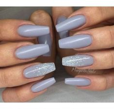 Check out these Amazing Slate Blue Nails with Sparkly Glitter. These nails are so pretty and the pure perfection on the singular nails with the glitter is even more amazing. Buy Nail Polish Here: Next –> Cute Acrylic Nails, Fun Nails, Pretty Nails, Grey Nail Designs, Acrylic Nail Designs, Art Designs, Gray Nails, Matte Nails, Yellow Nails
