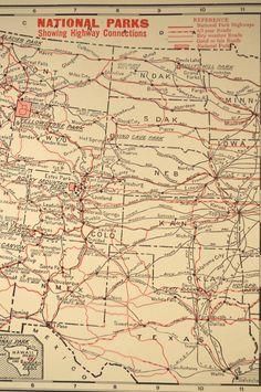 National Park Map Parks Chart Map 1920s System Original